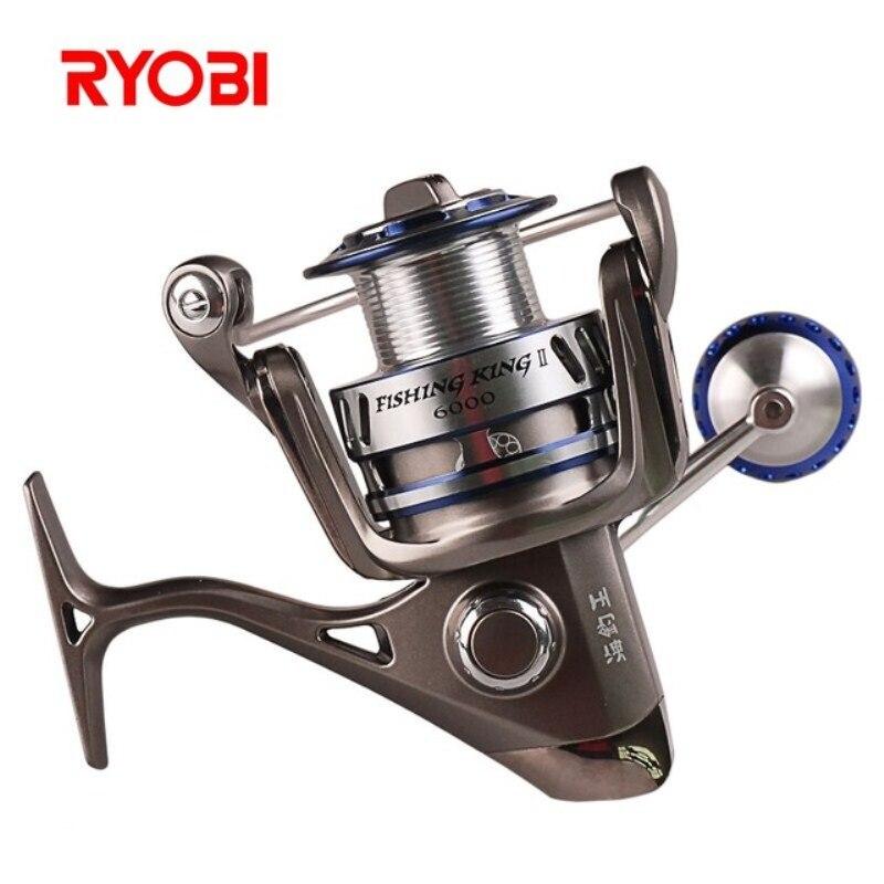 RYOBI pêche roi II 6000 8000 taille 6 + 1 BB Moulinet de pêche en rotation poignée de CNC 10 kg glisser en forme de V Rotoe bras Carretilha Moulinet