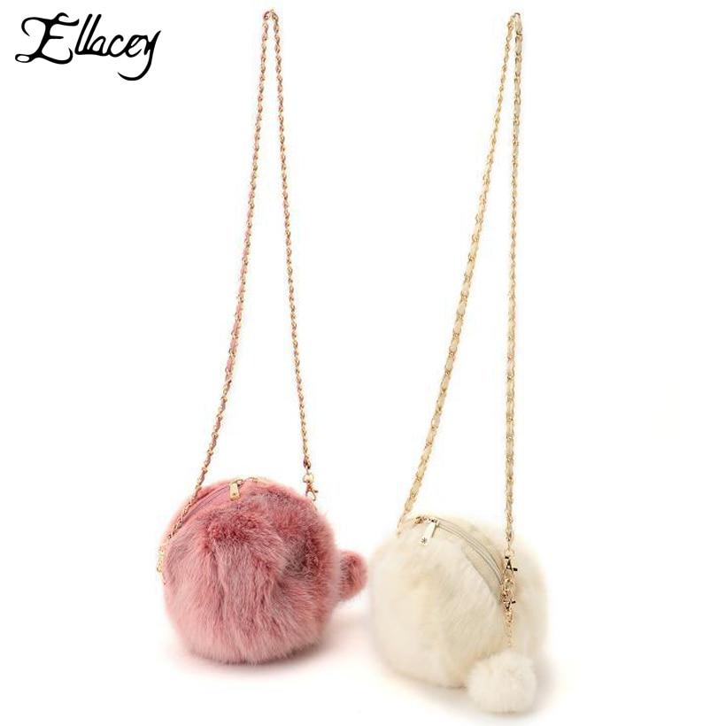Ellacey Winter Girls Hairball Messenger Bags Faux Fur Small Handbags Lolita Cross Body Chain Bag Rabbit Furry Women Sling Bags lipstick chain cross body bag