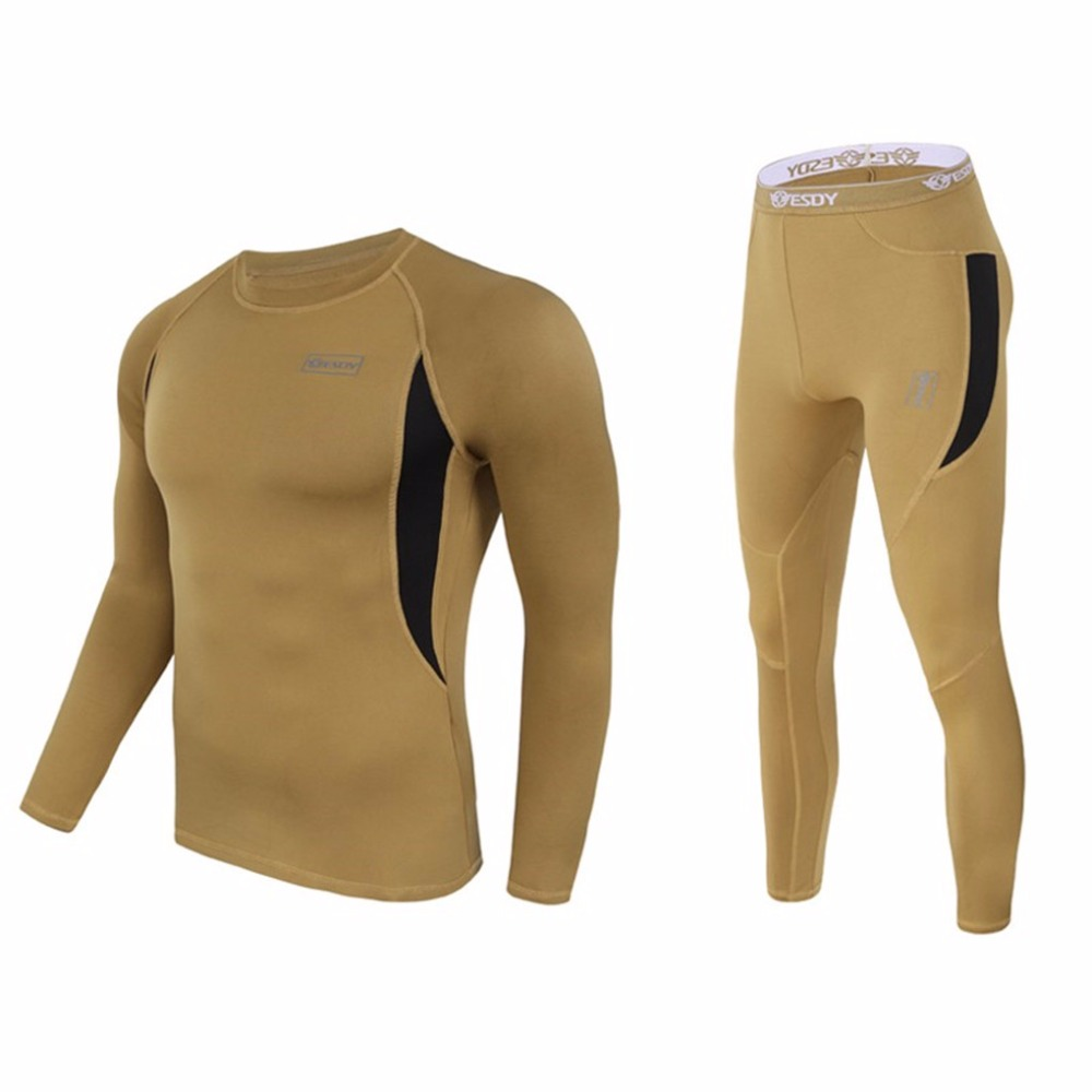 Shanghai Story Men Thermal Underwear, ESDY Tactical Suit Tight Thermo Combat Fleece Military Army Autumn-Winter Tees Long Pants