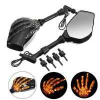 New Arrival 2pcs/Pair Skull Hand LED Integrated Turn Signal Bicycle Bike Mirrors For Motorcycle Cruiser 8MM 10MM Accessories