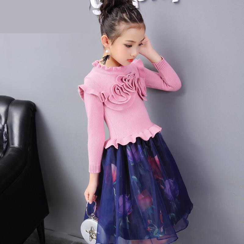 Kids Girls Clothing New Autumn Winter 2017 Knitted Sweater Mesh Dress For Girls Floral Princess Dress Vetement Fille 6 8 10 12 girls dress winter 2016 new children clothing girls long sleeved dress 2 piece knitted dress kids tutu dress for girls costumes