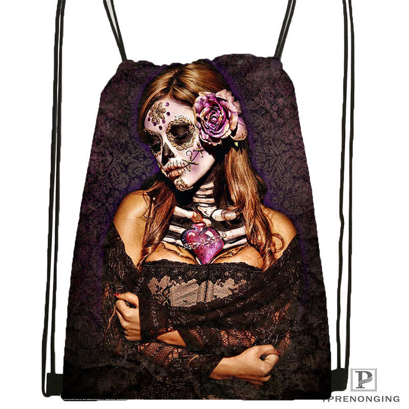Custom Day Of The Dead Skull  DrawstringBackpackBagforMan Woman Cute Daypack Kids Satchel (Black Back) 31x40cm#20180611-03-164