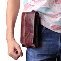 for Caterpillar Cat S61 bag Genuine Cow Leather Mini Casual Men's Waist Belt case For AGM X2 SE Phone bags