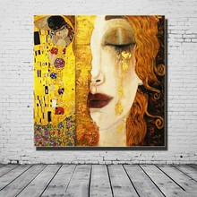 High Quality Oil painting Canvas Reproductions Golden Tears by Gustav Klimt Art Paintings Picture for Living Room
