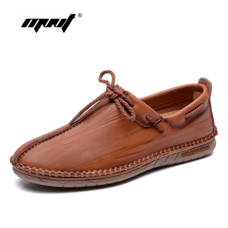 Shoes Men Genuine leather Lace-Up Flats Shoes Round Toe Casual Shoes Loafers Moccasins,High Quality Men Shoes tfsland men women genuine leather loafers students white shoes unisex spring round toe lace up breathable walking shoes sneakers