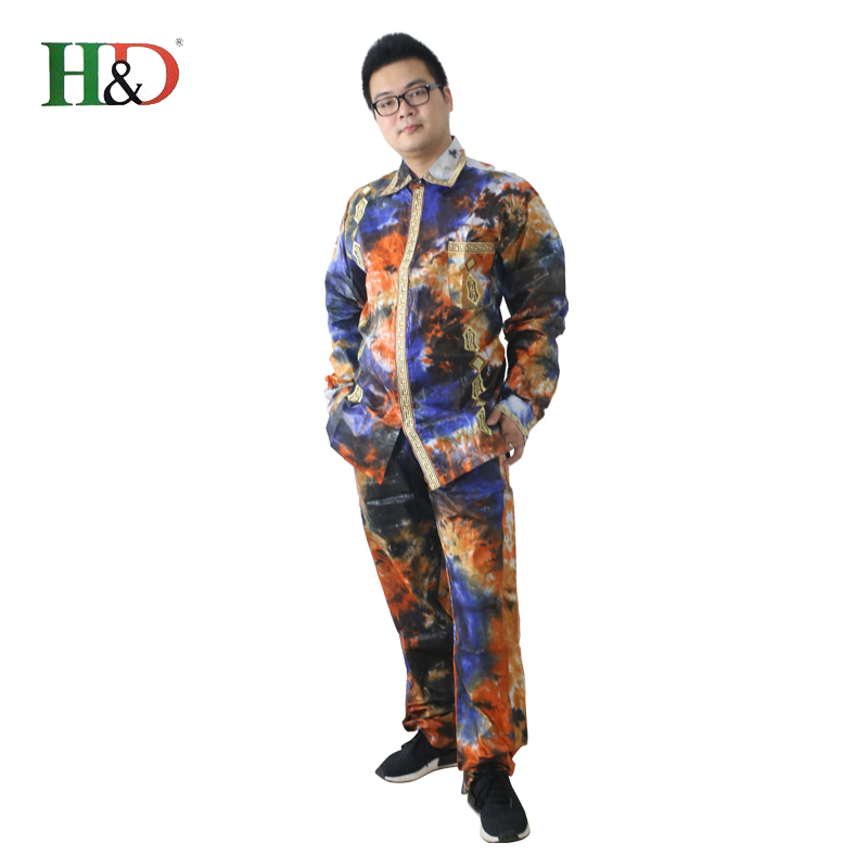 H & D lelaki lelaki Afrika sesuai baju pakaian tradisional dashiki - Pakaian kebangsaan - Foto 4