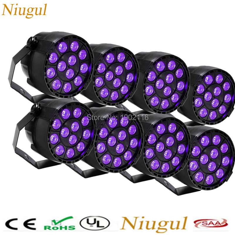 8pcs lot purple LED effect Stage Lights LED Flat Par Light With DMX512 Master Slave Flat