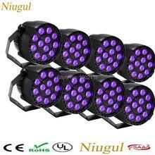 8pcs/lot purple LED effect Stage Lights LED Flat Par Light With DMX512 Master Slave Flat DJ Equipment Controller for Party Disco