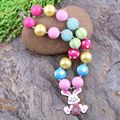 Cheap Free Shipping Fashion Beaded Kids Jewelry Chunky Bubblegum Beads Easter Rabbit Necklaces Design For Gift