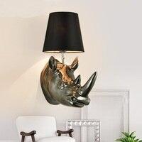 Американский кантри носорог глава Настенные светильники гостиной спальня лампа Европейский Стиль Бра Творческий украшения свет lu71124