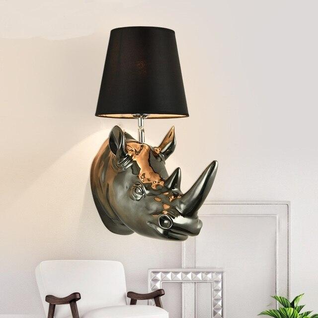 Paese americano testa di rinoceronte Lampade Da Parete del soggiorno ...