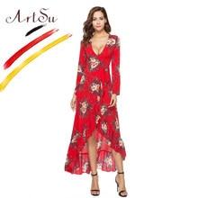 0c0a1919e02954d Арцу для женщин цветочный принт платье макси 2018 Sexy V образным вырезом с  длинным рукавом vestidos