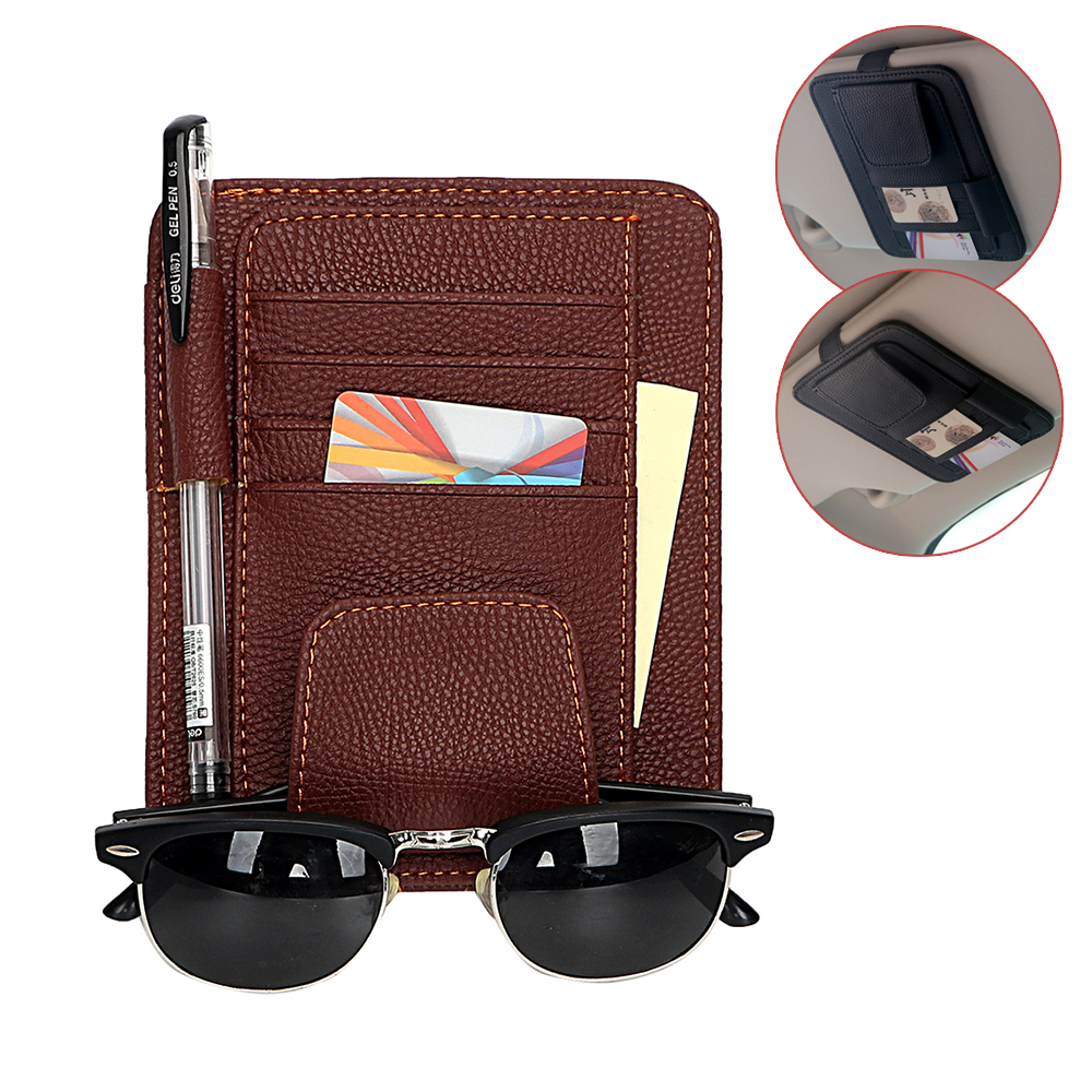 Sun Visor Multifunction PU Car Card Package Holder Glasses Storage Pen Organizer Car Hanging Bag Auto Tidying Accessories Pocket car air vent outlet plastic phone card holder automobiles mobilephone hanging pocket storage box pouch car supplies