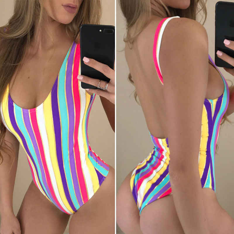 7582c641d5a57 Colorful Strips Sexy sport beach women's swimwear Multi-band hollow  professional ONE PIECE SWIMSUIT Print