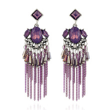 Vintage long fringe earrings for women jewelry Boho colorful resin  crystal pendant tassel earring Ethnic drop earings gift