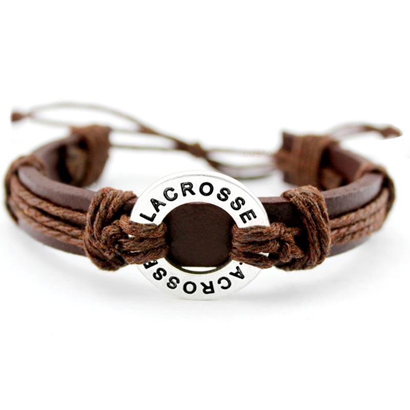 Lacrosse Soccer Football Volleyball Field Ice Hockey Golf Calisthenics Basketball Swim Charm Leather Bracelets Women men Jewelry