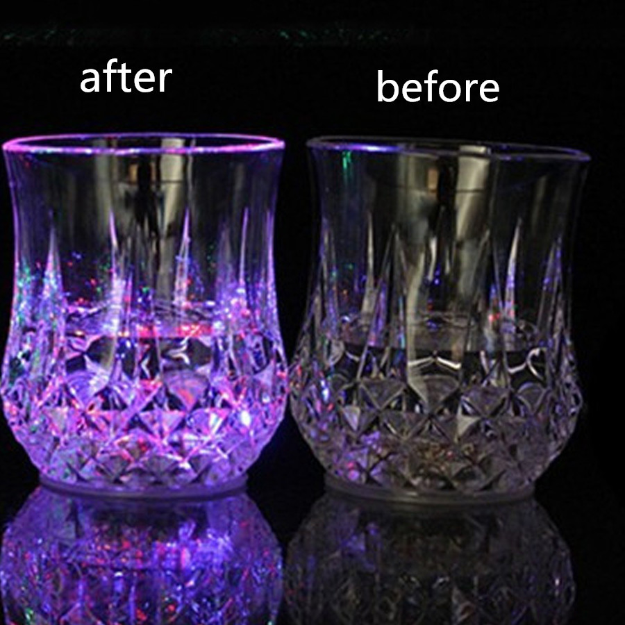 Glass juice cups design - Special Design Color Changing Cups Glass Creative Cups Light Round Beer Steins Button Battery High Quality