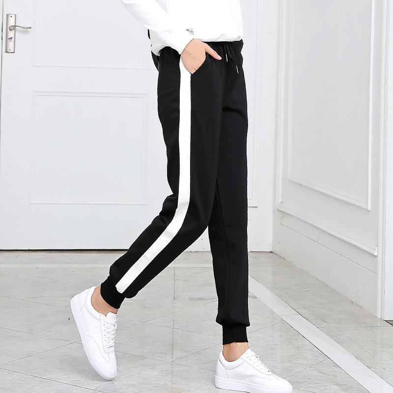 New lady Side White Drawstring bar Straight   Wide     leg     Pants   loose Student Casual Trousers Waist Skinny   Pants   Sideseam Sweatpants