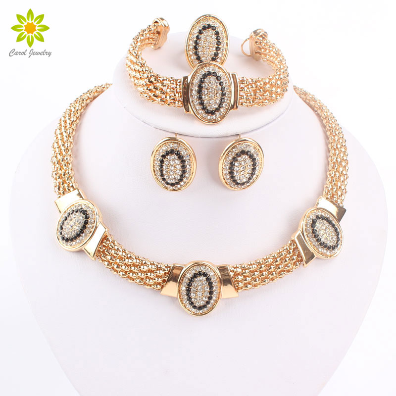 Free Shipping Dubai Gold Color Vintage Red/Black Rhinestone Necklace Set Fashion Wedding jewellery Bridal Jewelry Sets