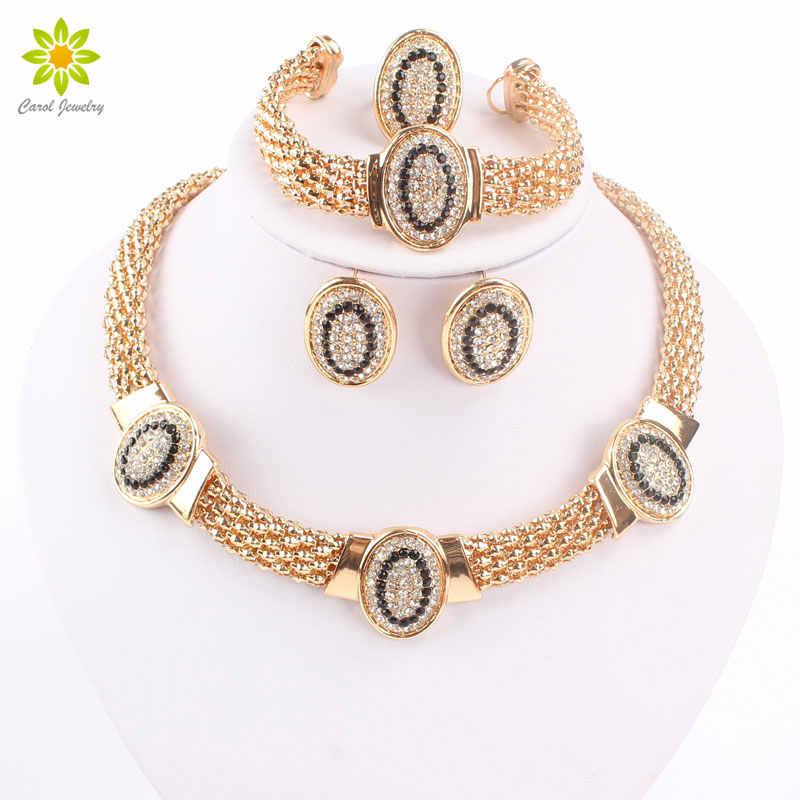 Kostenloser Versand Dubai Gold Farbe Vintage Rot/Schwarz Strass Halskette Set Mode Hochzeit schmuck Braut Schmuck Sets