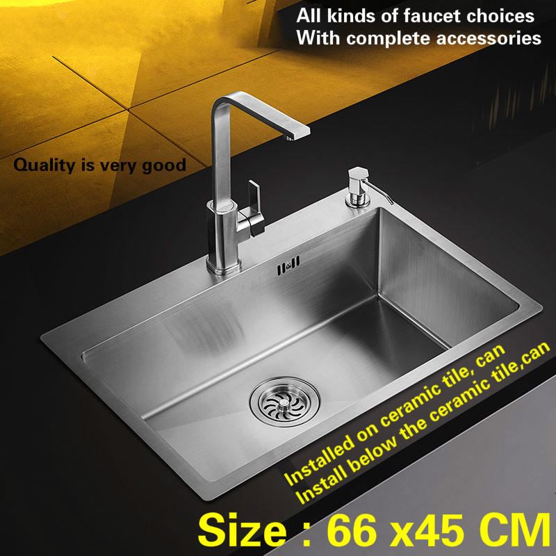 Free shipping Fashion kitchen sink 304 stainless steel 3 mm hand made single slot hot sell 66x45 CMFree shipping Fashion kitchen sink 304 stainless steel 3 mm hand made single slot hot sell 66x45 CM