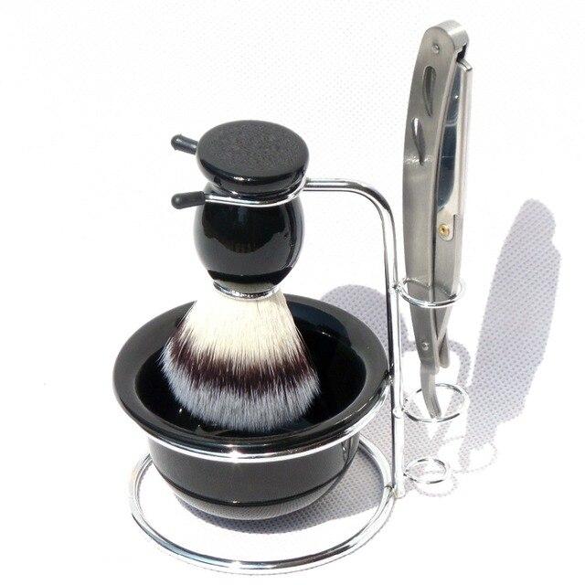 4pc/set Shaving Brush Stand Bowl with Straight Edge Blade Razor ,Men Beard Kits