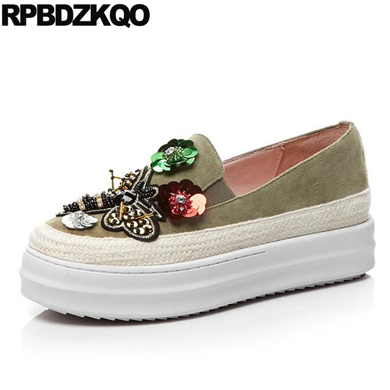 Flower 11 Thick Sole Women Elevator Green Creepers Platform Shoes Flats Muffin Beaded 10 Walking Large Size Spring Autumn