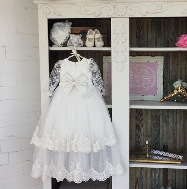 Beautiful Baby long christening dress Long sleeves sheer two tiered lace With Bonnet tulle Baptism Gowns for Boys and Girls long mesh sheer slip babydoll