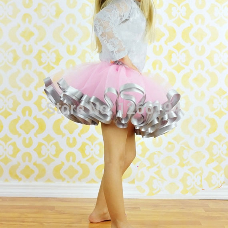 2016 Fashion girl Casual Chiffon Tutu Pink And Grey Ribbon Skirt Baby Girl Birthday Party Ball Gown Pettiskrit For 8T Girls