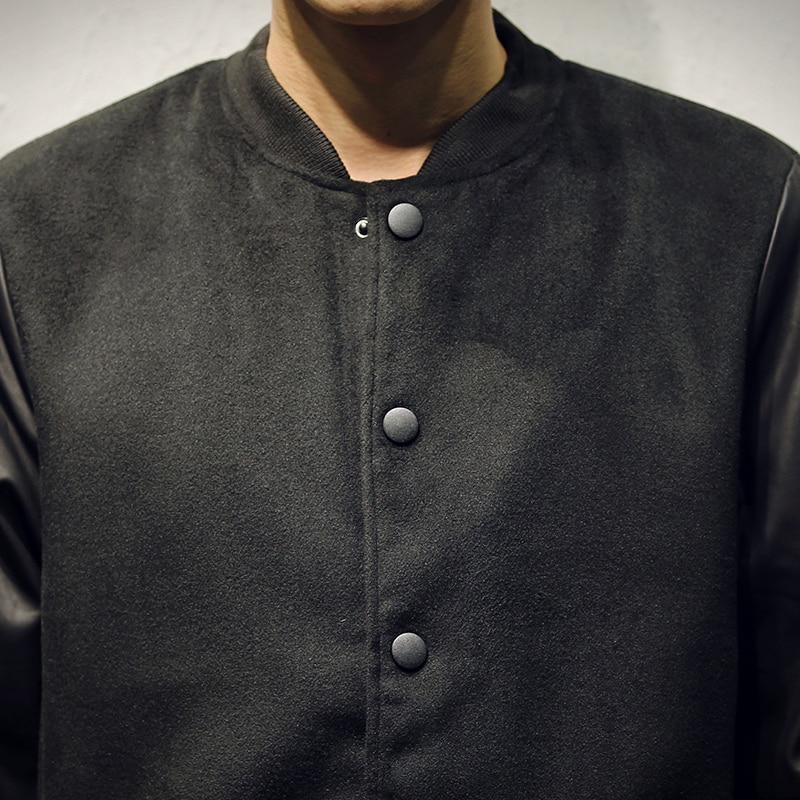49ea7b7fd0f New Varsity Jacket Men Cotton Pu Leather Stitching Baseball Jackets Autumn  Winter Fashion Single Button Mens Slim Coats 5XL-in Jackets from Men s  Clothing ...