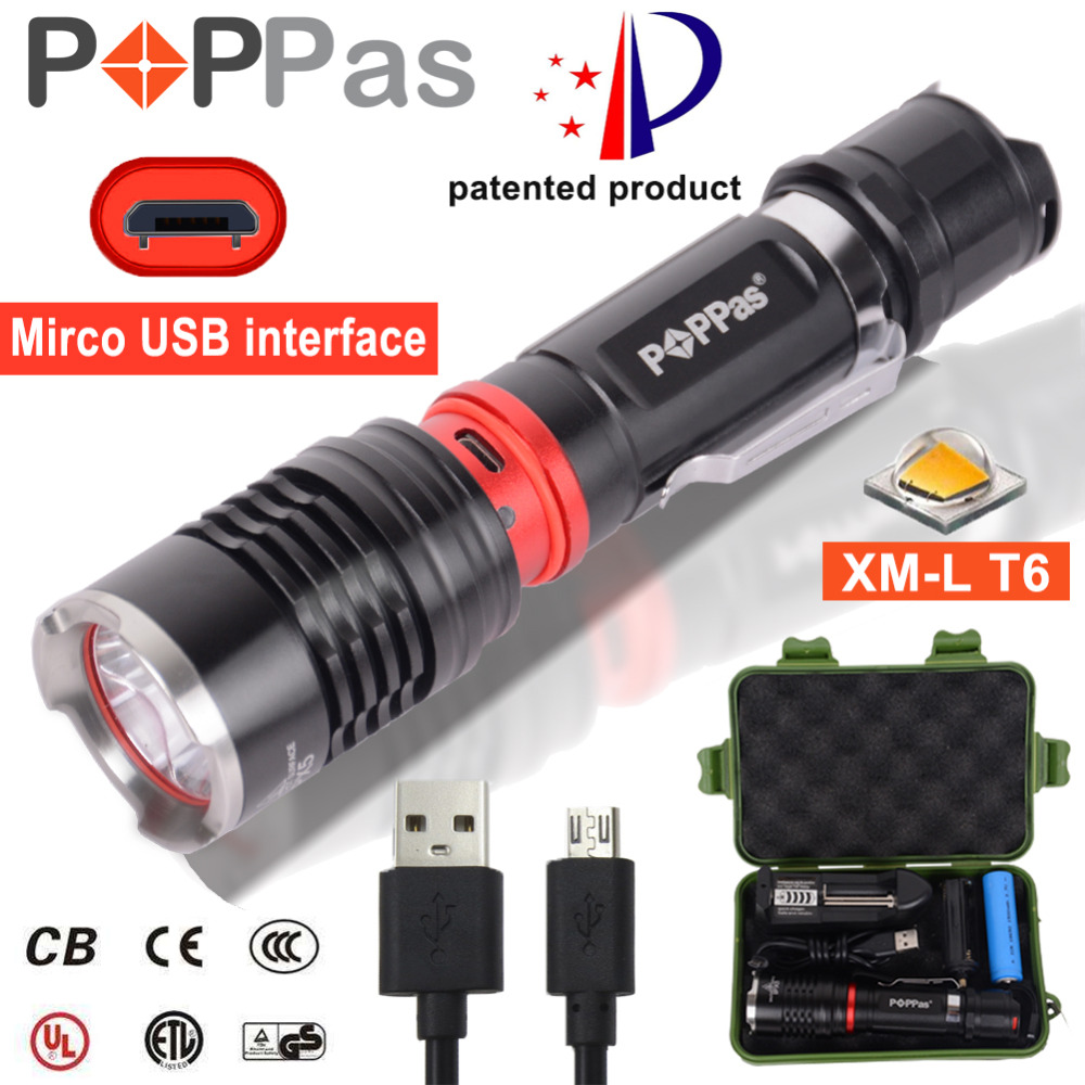 POPPAS XM-L T6 LED Flashlight Super Bright 1000 Lumens 5 Light Modes Torch Micro USB 2.0 Interface Light IP65 Water-Resistant led flashlight 13800 lumens 12 x cree xm t6 5 modes super bright 500 1000 lighting distance flashlight torch light 18650 battery