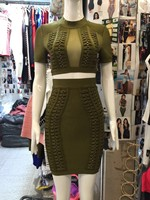 Top Quality Army Green Color Ladies HL Bandage Dress Sexy Wing Bodycon Dress 2 Pieces Sexy