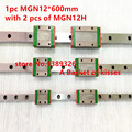 Pro Miniature MGN12 600mm 12mm linear slide :1 pc 12mm L-600mm rail+2 pcs MGN12H carriage for X Y Z 3d printer parts cnc