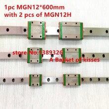 Pro Миниатюрный MGN12 600 мм 12 мм линейный слайд: 1 шт. 12 мм L-600мм железнодорожных + 2 шт. MGN12H перевозки для Xyz 3d принтер части чпу