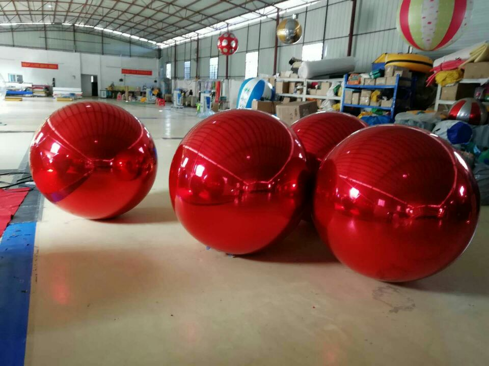 купить Promotion 0.8M Red Inflatable Mirror Ball / Inflatable Advertising Ball For Christmas Decoration онлайн