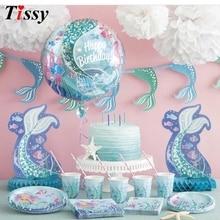 인어 시리즈 일회용 식기 세트 테이블 장식 종이 빨 대/컵/접시 아이 선물 결혼식/생일/파티 용품