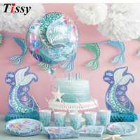 Mermaid Series Disposable Tableware Set Table Decoration Paper Straws/Cup/ Plate Kid Gift For Wedding/Birthday/Party Supplies