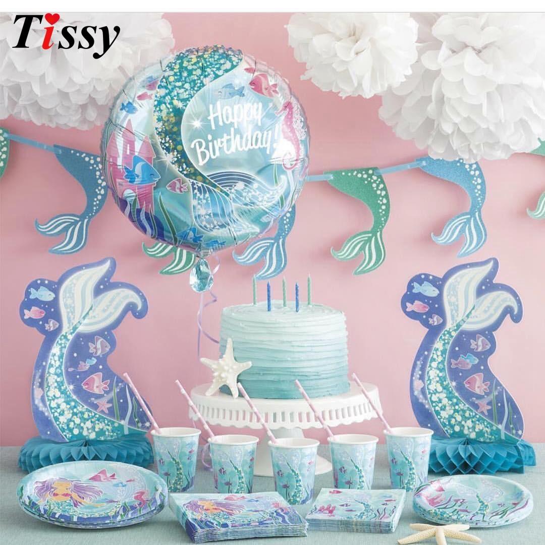 Serie de sirenas vajilla desechable Set Decoración de mesa pajillas de papel/taza/plato chico regalo para boda/cumpleaños/suministros de fiesta Vestido de princesa de La Sirenita de las muchachas de voguek para niños disfraz de fantasía de Ariel de verano ropa de fiesta de playa de escala para niños