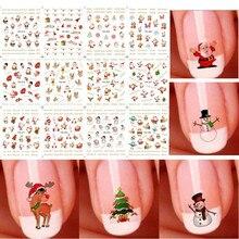 12 pcs/1 Vel Santas Sneeuwpoppen Bomen Sneeuwvlokken Xmas Kerst 3D Nail Art Stickers Mode Vrouwen DIY Nail Art sticker Nieuwe