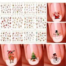 12 uds/1 hoja Santas Snowmen árboles copos de nieve Navidad pegatinas 3D para decoración de uñas de moda mujer DIY Nail Art Sticker nuevo