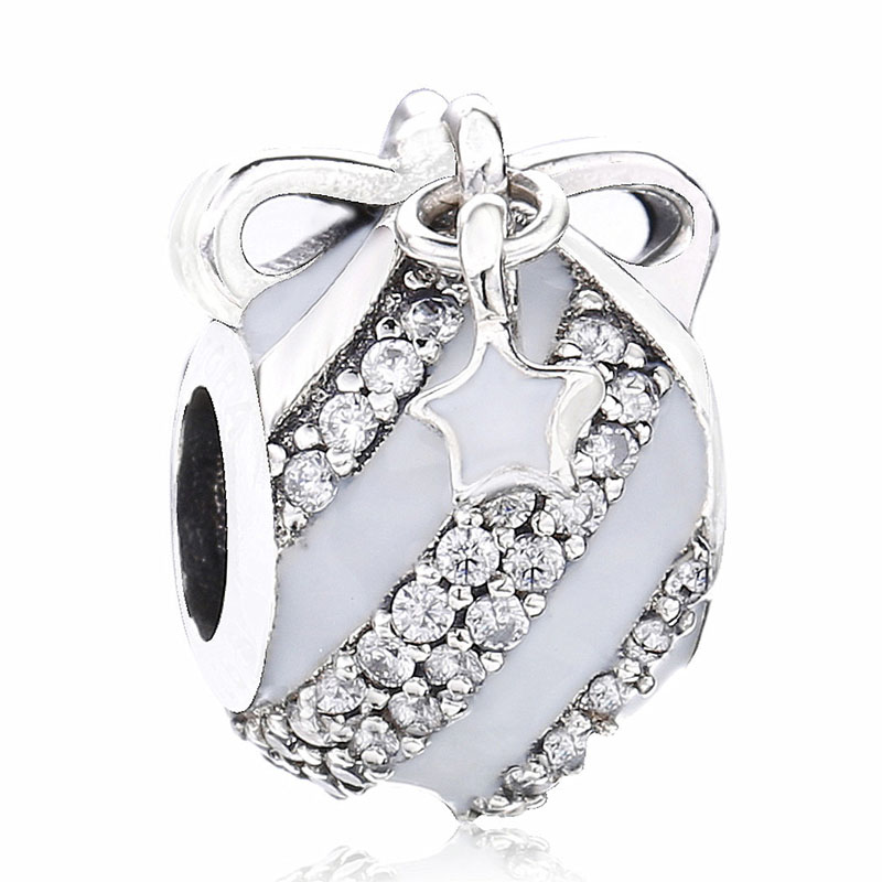 New 925 Sterling Silver Bead Charm Pave Stripe Christmas Ornament With Star & Moon Beads Fit Pandora Bracelet Bangle Diy Jewelry