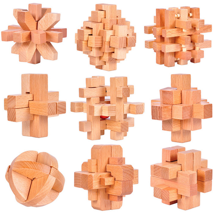 9PCS Set Beech Wood IQ Burr Interlocking Puzzles Mind Brain Teaser Wooden Puzzles Game for Adults