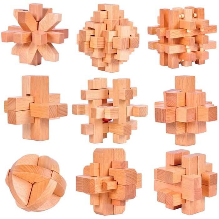 9 Pcs/ensemble Hêtre Bois IQ Bavure Verrouillage Puzzles Esprit Casse-tête En Bois Puzzles Jeu pour Adultes Enfants