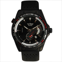 2013 Fashion Tachymeter Case Date Dial Mens Hand Wind Watch Rubber Band Mechanical Sport Wristwatch Free