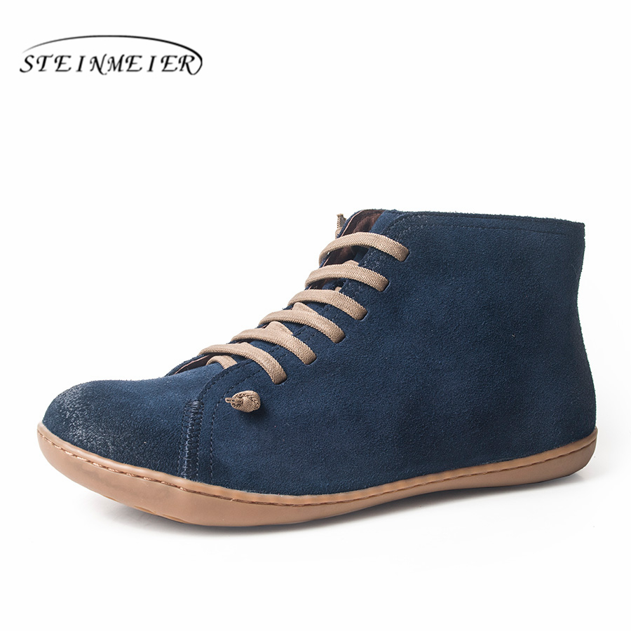 Femmes hiver bottes de neige en cuir véritable cheville printemps chaussures plates femme court marron bottes avec fourrure 2019 pour les femmes bottes à lacets - 2