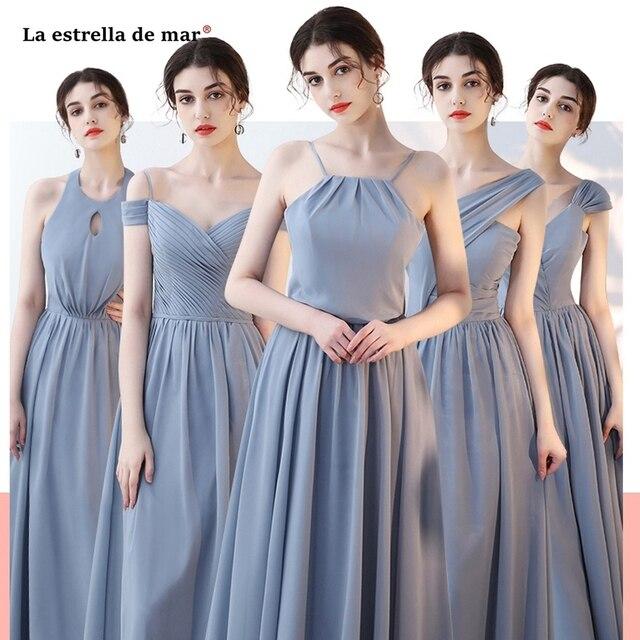 La estrellcheap vestido madrinha 2019 chiffon A Line 4 style grey blush  pink bridesmaid dress long dcfb437fdac1