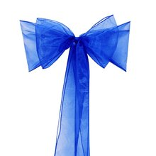 50pcs pieces royal blue Organza Chair Sashes Bow Cover Banquet Free Shipping