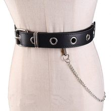 Newest Design Detachable Waist Belt Chain Punk Hip-hop Trendy Women Belts Lady Fashion silver Pin Buckle leather Waistband Jeans(China)