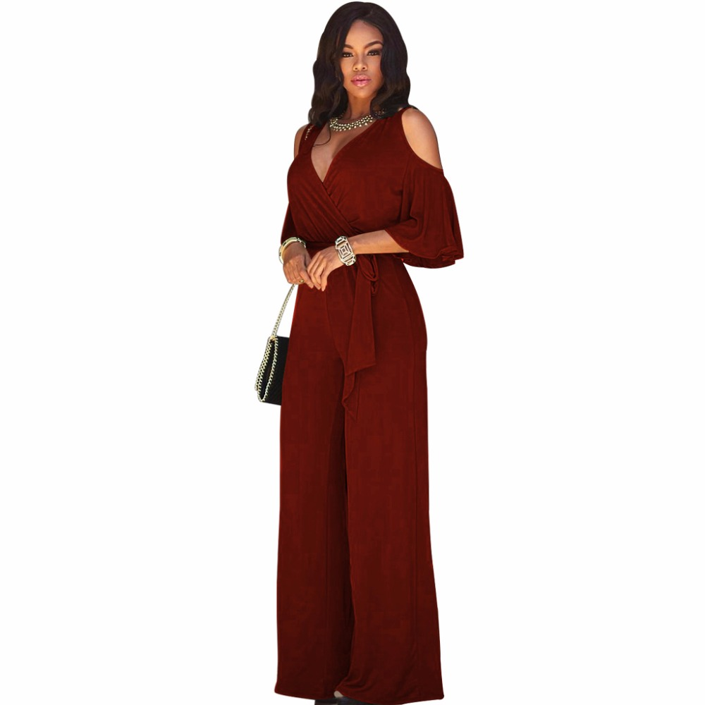 Womens 2018 Summer Elegant Jumpsuits Off Shoulder Deep V Neck Slim Work Casual Sleeveless Loose Jumpsuit Romper Without Belt