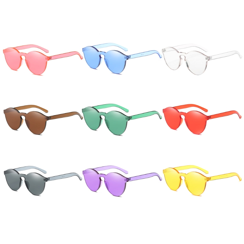 Women Fashion Candy Color Cat Eye Integrated Sunglasses Designer Eyeglass Shades